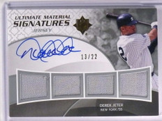 2009 Ultimate Collection Derek Jeter Quad Jersey Autograph auto #D13/22 *71302