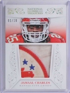 2013 National Treasures Jamaal Charles jumbo patch #D01/10 #16 Dirty *72015