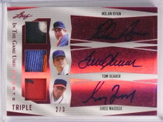 2018 Leaf In The Game Used Nolan Ryan Seaver Maddux autograph patch #d/3 *72996