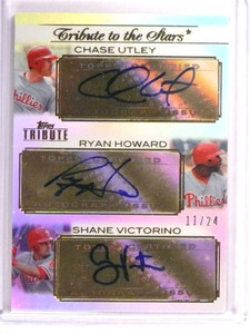 2011 Topps Tribute Chase Utley Ryan Howard Victorino autograph #D11/24 *73018