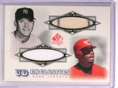 2001 SP Authentic UD Exclusives Mickey Mantle Ken Griffey Jr. dual jersey *73021