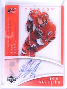 2007-08 Upper Deck Trilogy Eric Staal Ice Scripts Autograph Auto #ISES *74126