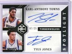 2015-16 Limited Spotlight Karl-Anthony Towns Tyus Jones autograph #D07/25 *75170