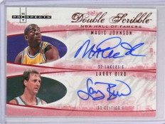 2007-08 Fleer Hot Prospects Double Magic Johnson Larry Bird autograph /5 *78307