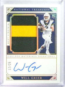 2019 National Treasures Collegiate Jersey Patch Autograph Will Grier #D/25 *79679