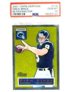 2001 Topps Heritage Chrome Retrofracter Drew Brees rc rookie #/556 PSA 10 *80719