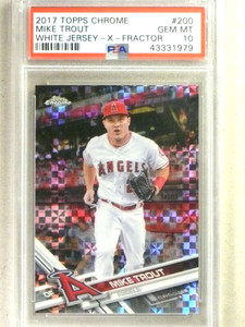 2017 Topps Chrome Xfractor Mike Trout white jersey #200 PSA 10 GEM MINT *84244