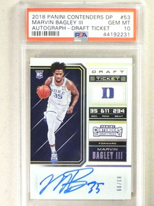 2018 Panini Contenders Draft Marvin Bagley autograph auto rc #83/99 PSA 10 *84123