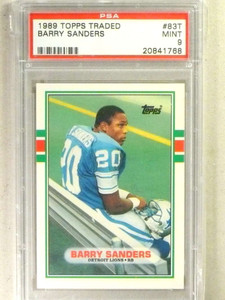 1989 Topps Traded Barry Sanders rc rookie #83T PSA 9 MINT *84151