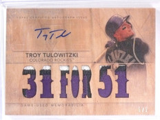 2015 Topps Triple Threads wood Troy Tulowitzki autograph auto patch #D 1/1 *5634