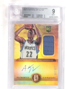 2014-15 Gold Standard Andrew Wiggins autograph jersey rc #D110/199 BGS 9 *56358