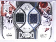 2009-10 UD SP Game Used Combo Dwight Howard Tim Duncan Jersey #D173/499 *65964