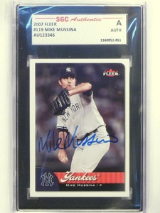 2007 Fleer Mike Mussina #119 Autograph auto SGC Authentic Slabbed *48583