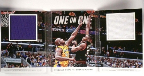 DELETE 382 14-15 Panini Preferred 1 on 1 Shaquille O'neal & Mutombo jersey book /25 *50546