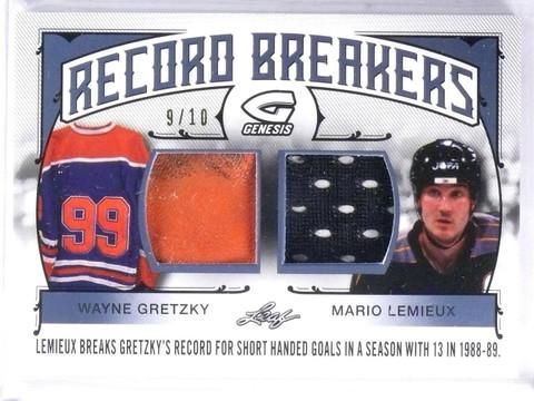SOLD 10132 2015-16 Leaf Genesis Record Breakers Gretzky Lemieux Patch Jersey #D9/10 *57679