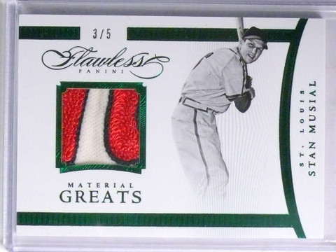 SOLD 14262 2016 Panini Flawless Material Greats Stan Musial 3clr patch #D3/5 #19 *67691