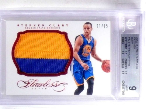 SOLD 14556 2013-14 Flawless Patches Ruby Stephen Curry 2clr patch #D1/15 BGS 9 *67990