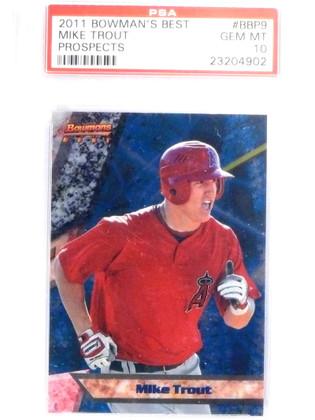 SOLD 14561 2011 Bowman's Best Prospects Mike Trout rc rookie #BBP9 PSA 10 GEM MINT *67996