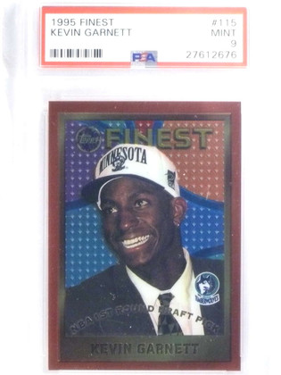 SOLD 14583 1995-96 Topps Finest Kevin Garnett rc rookie #115 PSA 9 MINT *68019
