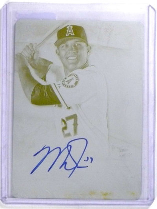 SOLD 14591 2014 Topps Supreme Mike Trout Yellow Printing Plate autograph auto #D 1/1 *68027