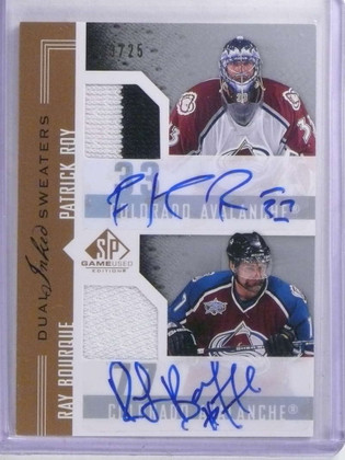 2007-08 Sp Game Used Patrick Roy & Bourque autograph jersey #D13/25 *68046