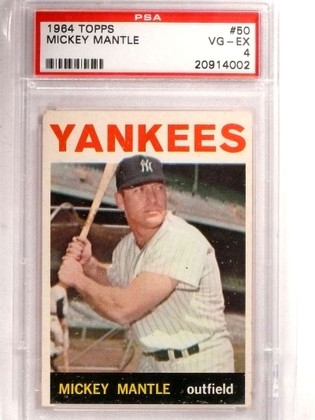 SOLD 15706 1964 Topps Mickey Mantle #50 PSA 4 VG-EX *69201