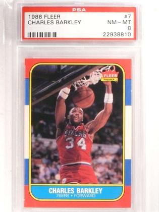 SOLD 15750 1986-87 Fleer Charles Barkley rc rookie #7 PSA 8 NM-MT *69204