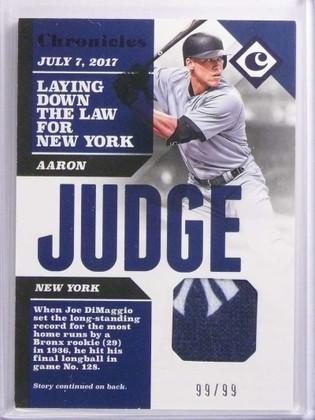 DELETE 17100 2017 Panini Chronicles Aaron Judge 2clr Yankees patch #D99/99 #CS-AJ *70049