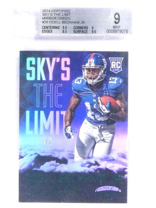 2014 Certified Sky's The Limit Green Odell Beckham Jr. rc rookie #D2/5 BGS 9 *70951