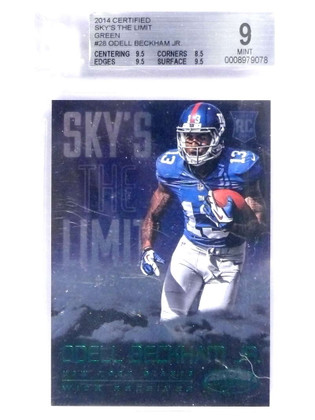 2014 Certified Sky's The Limit Green Odell Beckham Jr. rc rookie #D3/5 BGS 9 *70952