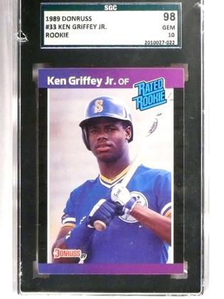 SOLD 18256 1989 Donruss Ken Griffey jr. Rookie RC #33 SGC 98 GEM 10 *71387