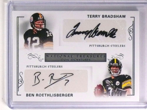SOLD 18362 2017 National Treasures Bradshaw Ben Roethlisberger Autograph #D10/10 *71300