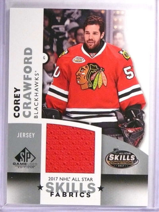 SOLD 18880 2017-18 SP Game Used Skills Fabric Corey Crawford Jersey #ASCC *71671