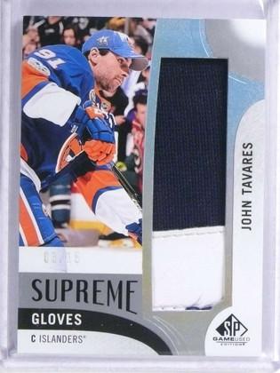 SOLD 19311 2017-18 Sp Game Used Supreme Gloves John Tavares supreme gloves #D3/15 *72007