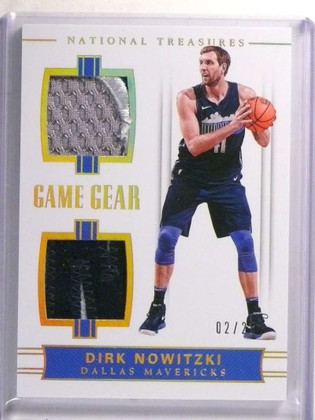 SOLD 19599 2017-18 National Treasures Game Gear Dirk Nowitzki dual patch #D02/25 *72293