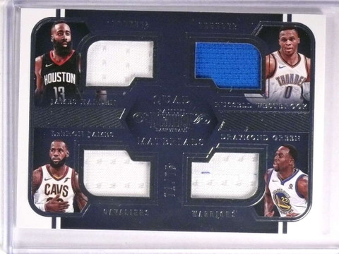 2017-18 Dominion Lebron James Harden Westbrook Green quad jersey /75 *72528