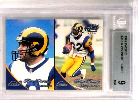 1999 Pacific Kurt Warner rc rookie #343 BGS 9 MINT  Old Label *72740