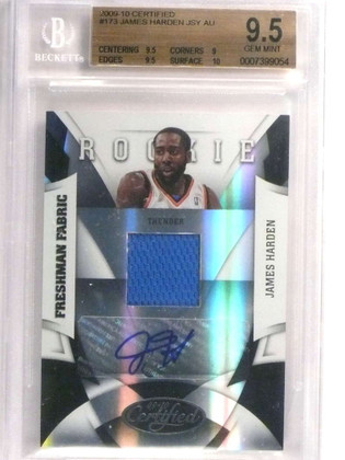 SOLD 20223 2009-10 Certified James Harden autograph auto jersey rc #D309/399 BGS 9.5 *72955