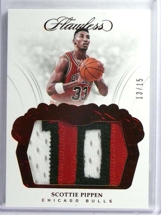 2017-18 Panini Flawless Patches Red Scottie Pippen 3 color patch #D13/15 *73421