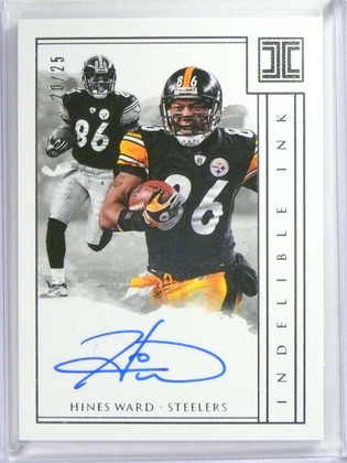 SOLD 20741 2018 Panini Impeccable Indelible Ink Hines Ward autograph auto #D20/25 *73496