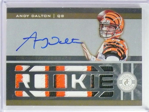 2011 Totally Certified Andy Dalton autograph auto patch rc #D22/25 #203 *73498