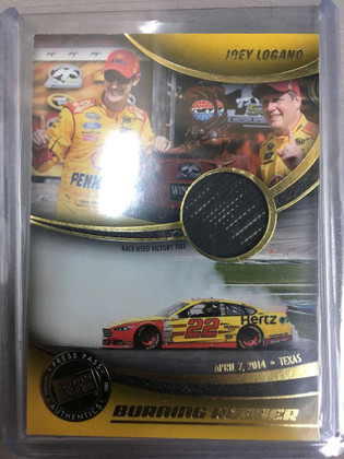 2014 Press Pass Burning Rubber Gold Victory Race Used Tire Joey Logano *74579