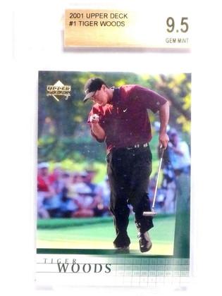 SOLD 10960 2001 Upper Deck Tiger Woods rc rookie #1 BGS 9.5 GEM MINT  *63848