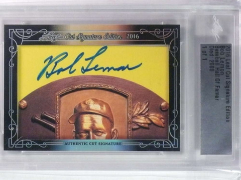 2016 Leaf Cut Signature Edition Bob Lemon autograph auto #D 1/1 *76581