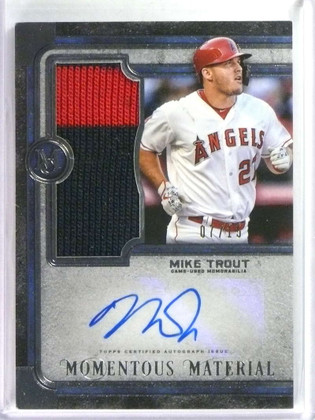 2019 Topps Museum Collection Momentous Mike Trout autograph patch #D07/15 *76924