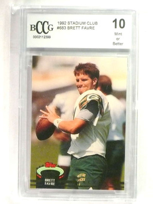 SOLD 24163 1992 Stadium Club Brett Favre #683 BCCG 10 Mint Or Better Packers  *76896