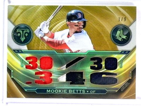 SOLD 25662 2019 Topps Triple Threads Mookie Betts gold jersey patch #D1/9 *78525