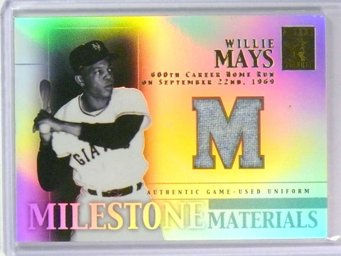 DELETE 25665 2002 Topps Tribute Milestone Relics Uniform Willie Mays jersey #MIM-WM *78556