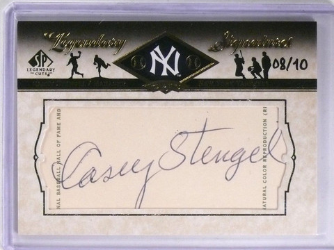2008 SP Legendary Cuts Casey Stengel autograph auto #LC-CS #D08/10 Yankees *5771