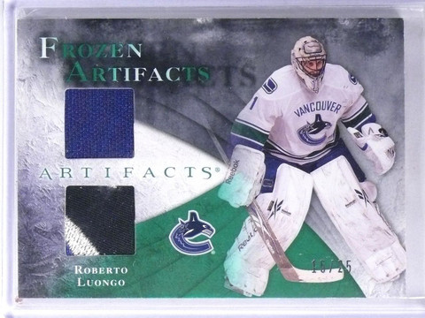 2010-11 UD Artifacts Roberto Luongo Frozen Dual Jersey Patch Emerald #15/25 *571